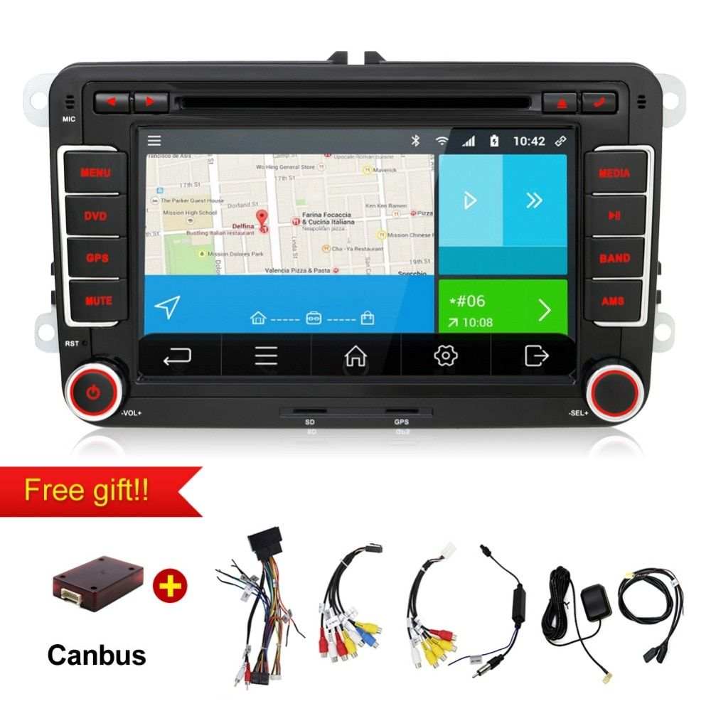 2 din android 7.1 Auto Radio DVD GPS Navigation Für Volkswagen VW Caddy Golf Jetta Polo Limousine Touran Passat EOS 3G + DVD Automtivo