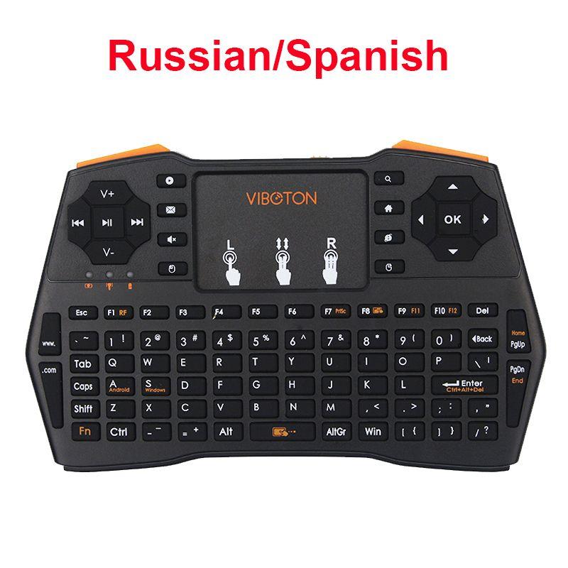Russe Espagnol Anglais Mini Keyabord 2.4G Sans Fil Clavier pour Mini PC Portable Android TV Box pour Orange Pi pour Raspberry Pi