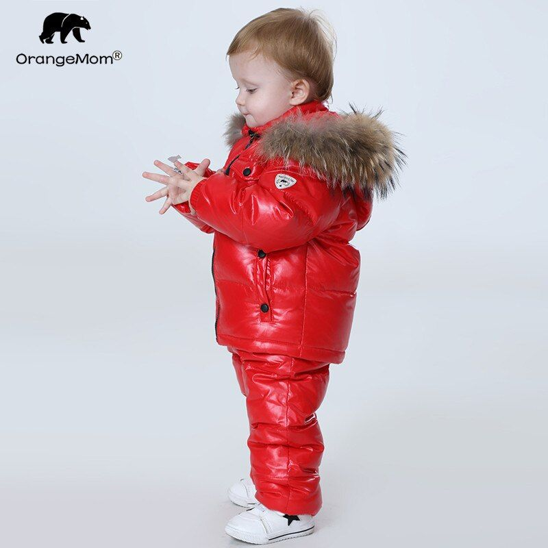 -30 degree Russia Winter children's clothing sets , girls clothes for new year's Eve boys parka jackets coat down snow wear