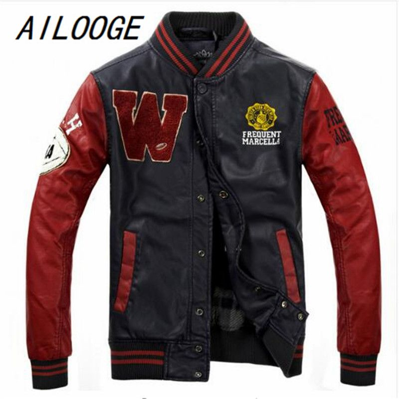 AILOOGE 2017 Baseball Leather Jacket College Jaqueta Couro Men's PU Leather Jacket Street Jacket High Quality Autumn Winter Coat