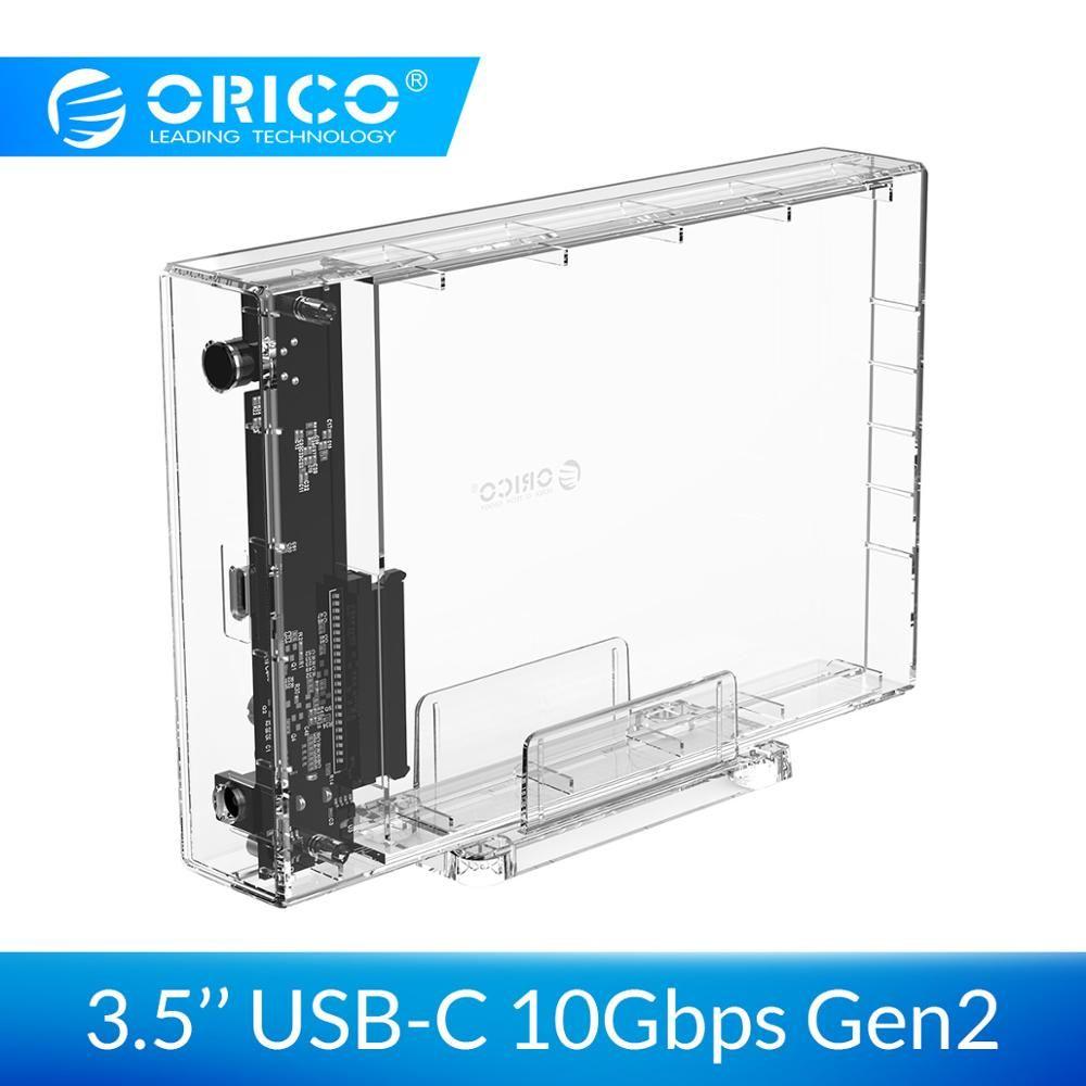 ORICO 3.5 inch HDD Enclosure USB 3.1 Type C Transparent HDD Case SATA to USB Transparent HDD Docking station