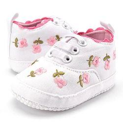 Baby Girl Zapatos blanco encaje Floral bordado suave Prewalker caminar Niño Zapatos de los niños envío gratis