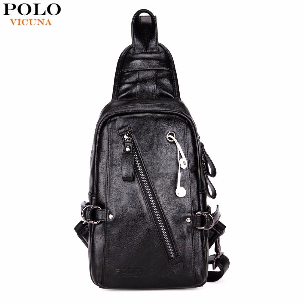 VICUNA POLO Fashion Black PU Leather Sling Bag For Men Solid Patchwork Leisure Men Messenger Bag Shoulder Bags