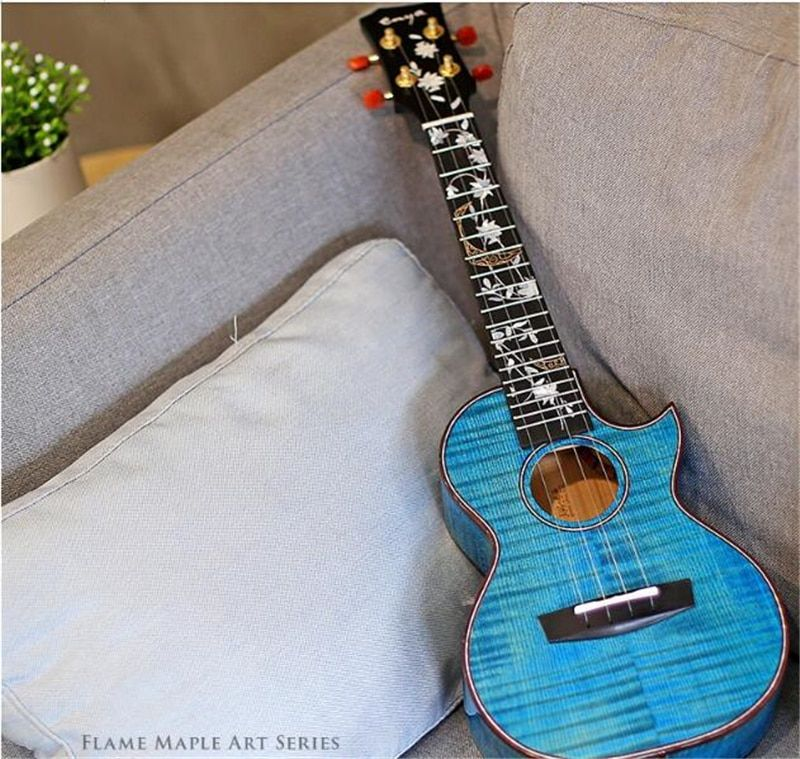 Enya 5A Flame Maple Blue Ukulele 23