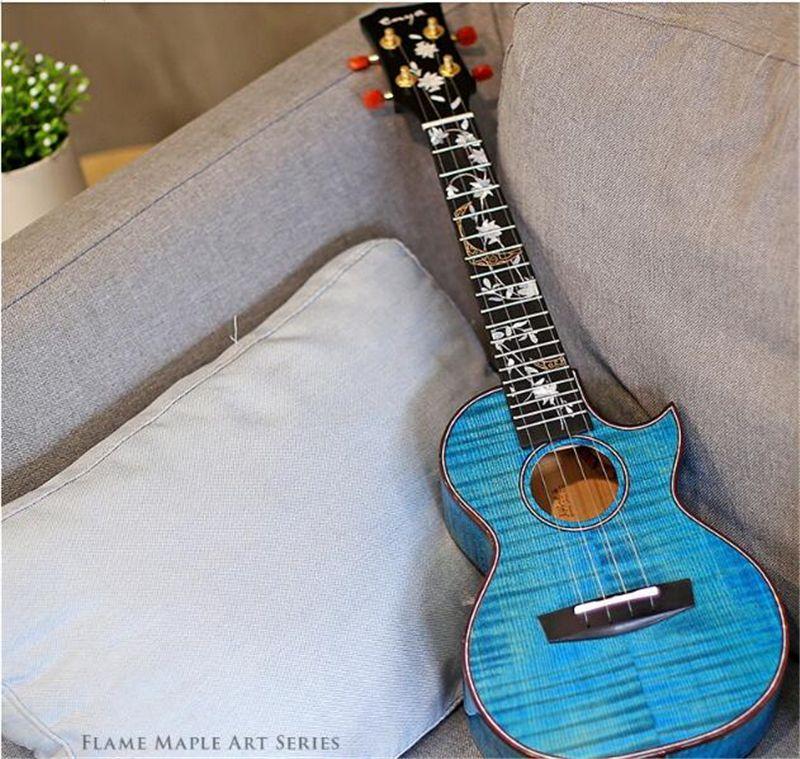 Enya 5A Flame Maple Blue Ukulele 23