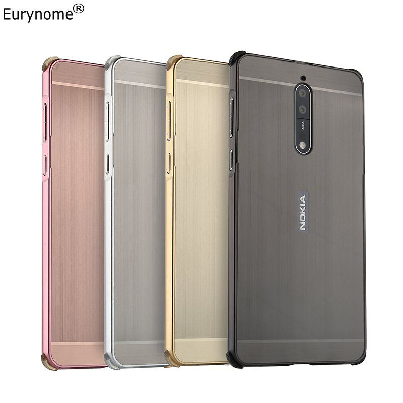 Case for Nokia 8 Cover Original Shockproof Metal Aluminum Frame Ultra Thin Plastic Cover for Nokia 8 Nokia8 case + screen film
