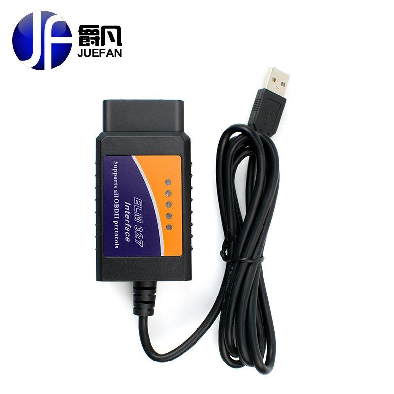 Высокое качество ELM327 USB Пластик OBD2 инструмент диагностики авто версия V1.5 ELM 327 USB Интерфейс OBDII CAN-BUS сканер бесплатная доставка