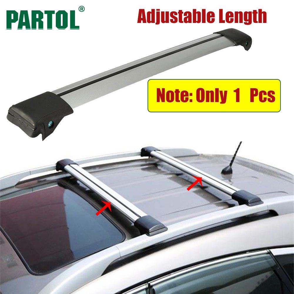 Partol 1 x Voiture Toit Rack Croix Bar Serrure Anti-vol SUV Top 150LBS 68 KG D'aluminium Cargo Porte-Bagages Pour Auto Offroad 93-111 CM