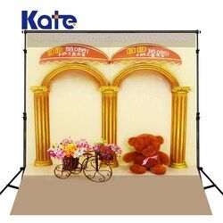 KATE Photography Backdrop Solid Brown Floor Bicycle Children Photo Bear Gold Pillar Photo Studio Background for Photo Studio