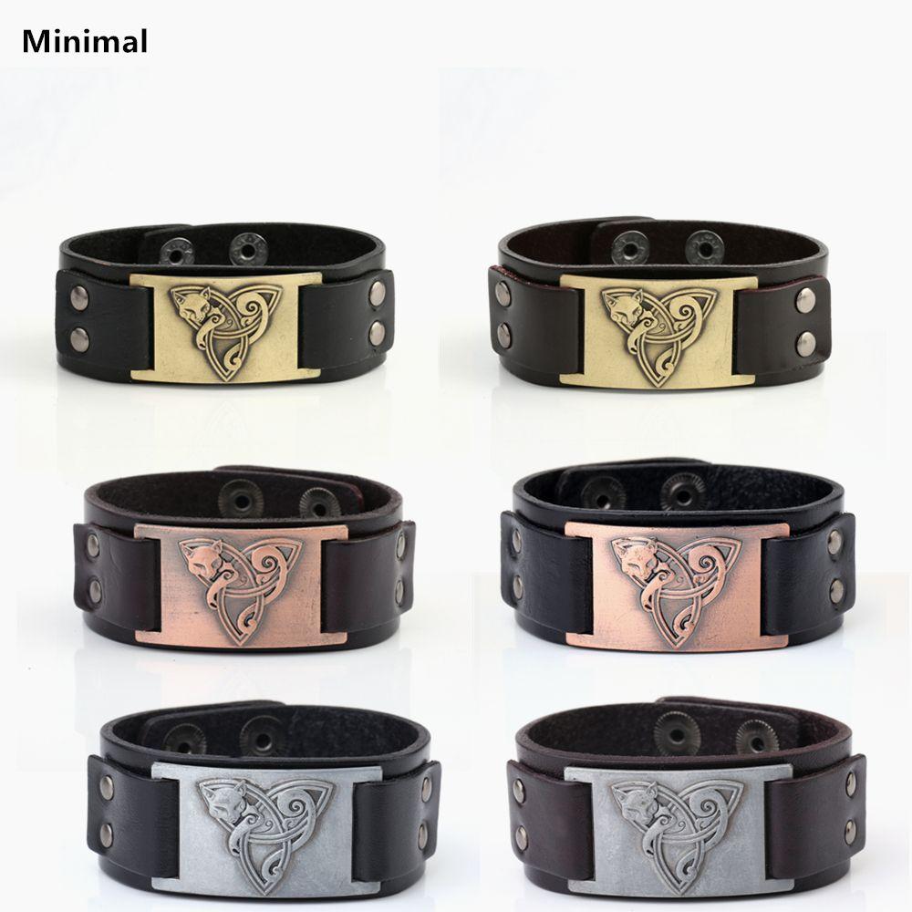Mínimo Vikingo Animal Amuleto Talismán Supernatural Pulsera Pagana de Zorro de Cuero Genuino Negro/Marrón Colores para Hombre