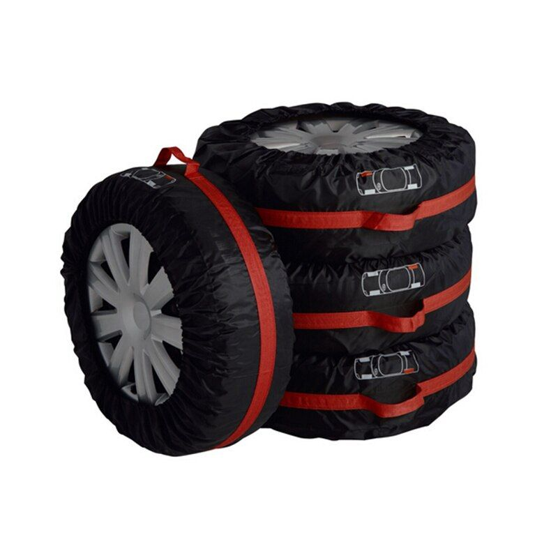 4Pcs Spare <font><b>Tire</b></font> Cover Case Polyester Winter and Summer Car <font><b>Tires</b></font> Storage Bag Automobile Tyre Accessories Vehicle Wheel Protector