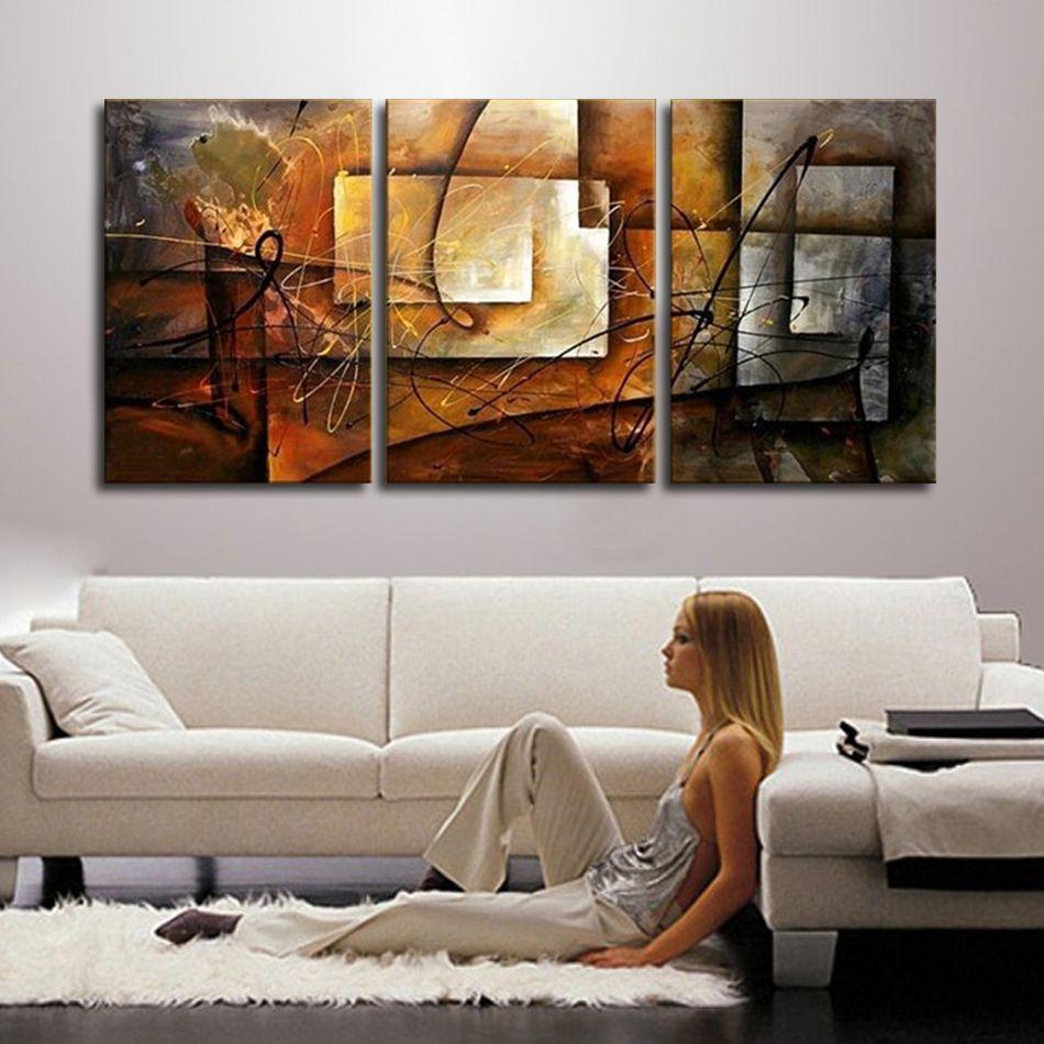 Peint à la main moderne abstraite peinture à l'huile mur Art toile Set 3 panneau réaliste décoration de la maison photo pour cuisine salon