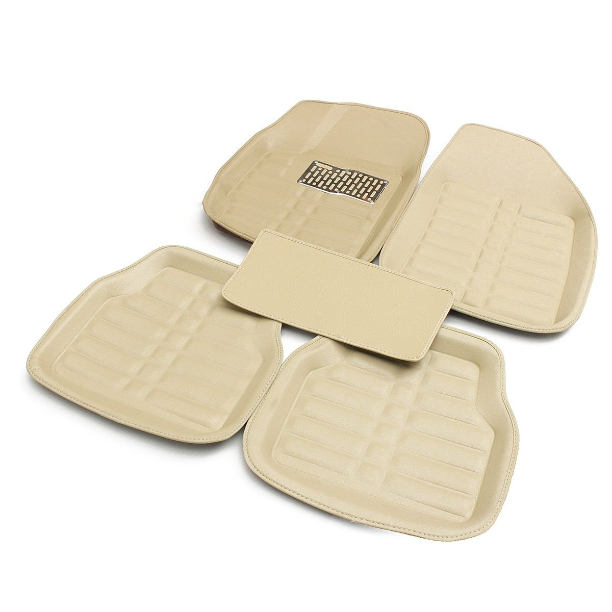 Beige Universal Car Floor Leather Mat Front & Rear Liner Easy Clean Waterproof Mat For VW/AUDI/BMW