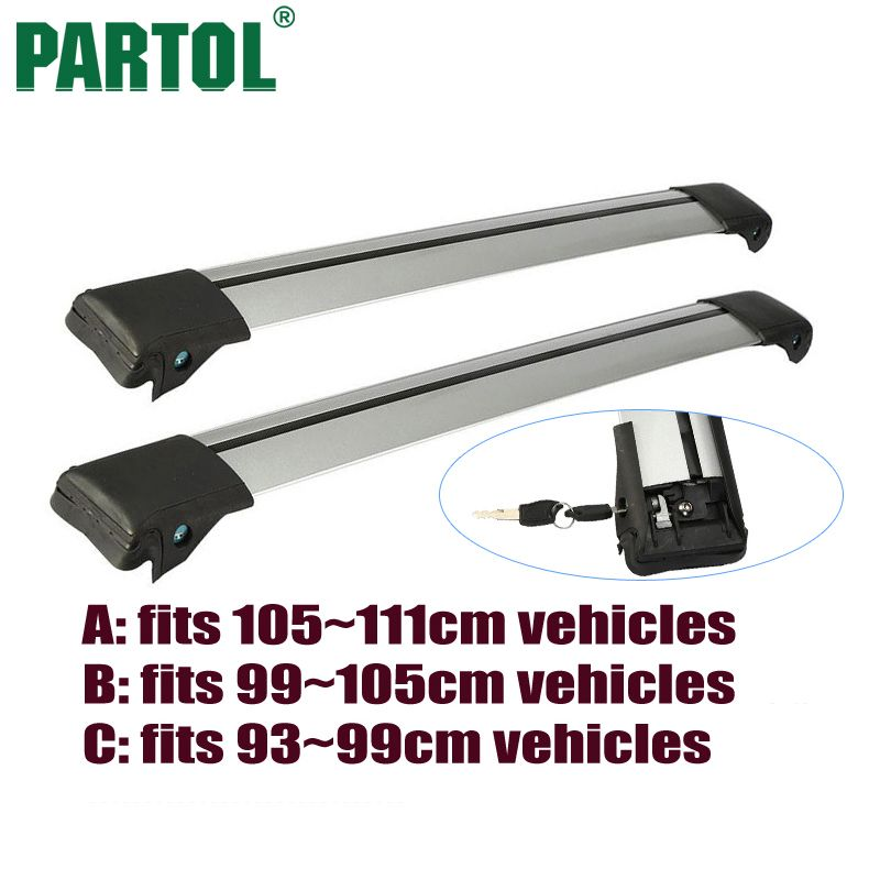 Partol 2x A B C Size Car Roof Rack Cross Bars Anti-theft Lock System Snowboard Carrier Bike Rack For 93-99cm 99-105cm 105~111cm