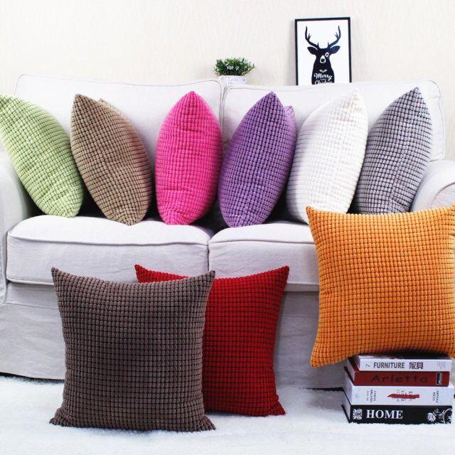 Kundengebundene Größe Candy Farbe Korn-muster Cord Kissen Abdeckung Auto Sofa Dekoration Kissen Fall Mit Unsichtbarer Reißverschluss