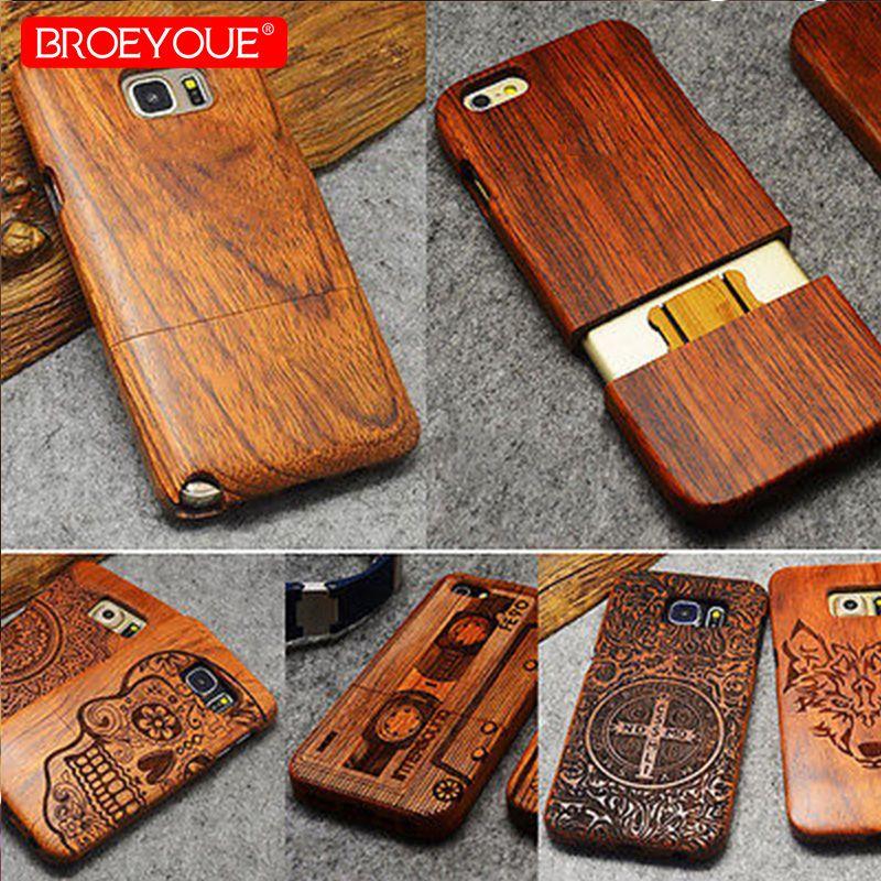 BROEYOUE Cas Pour Samsung Galaxy S8 S9 Plus S7 Bord S5 S6 Note 3 4 5 8 100% En Bois Naturel cas Pour iPhone 5 5S SE X 7 8 6 6 s Plus
