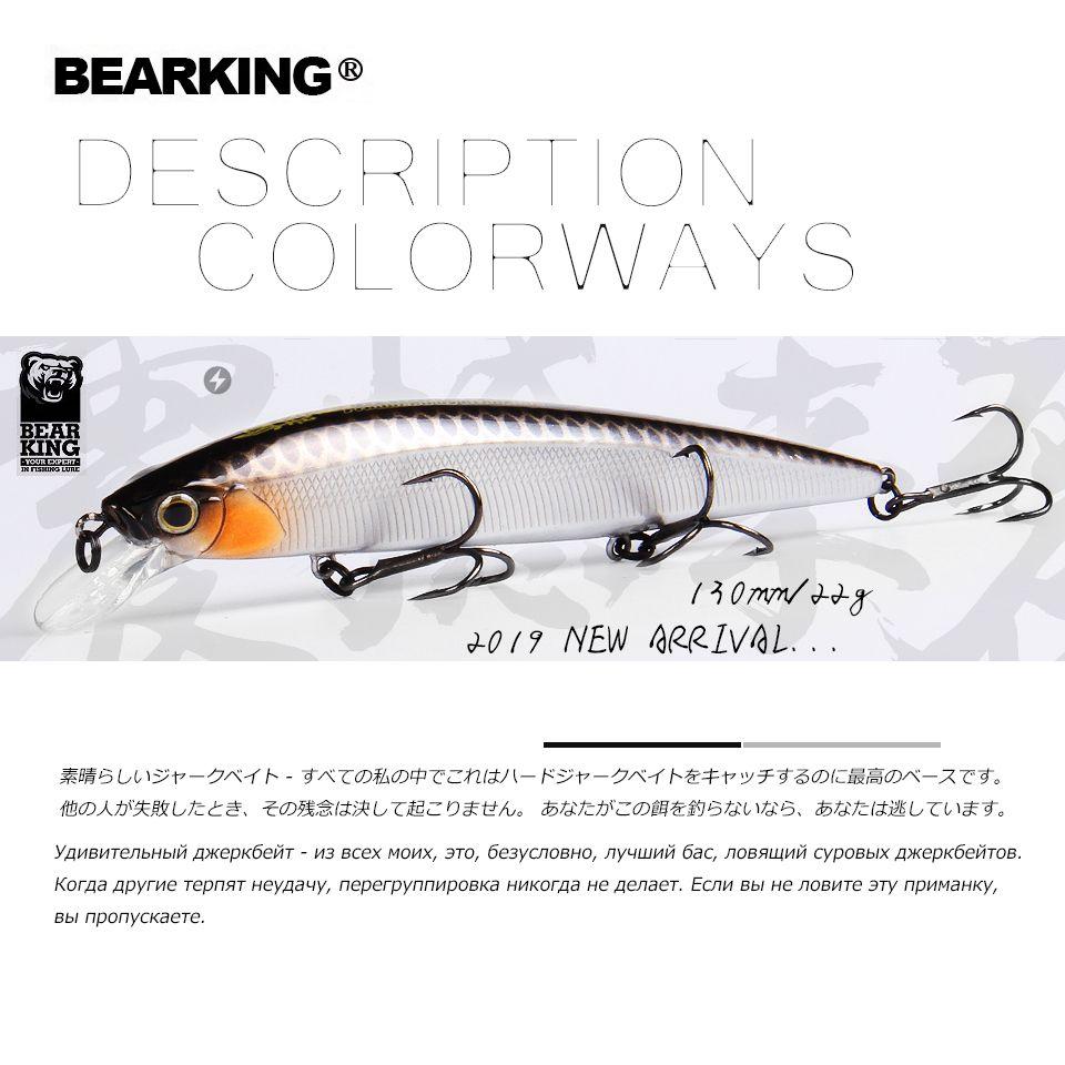 BEARKING 2019 Hot fishing lures, assorted colors, minnow crank  130mm 22g,Tungsten weight system wobbler model crank bait