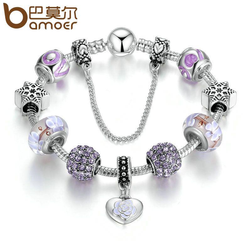 BAMOER Elegant Bracelets Silver Color Heart Pendant Light Purple European Beads Charm Bracelet Wedding Jewelry 20CM PA1891