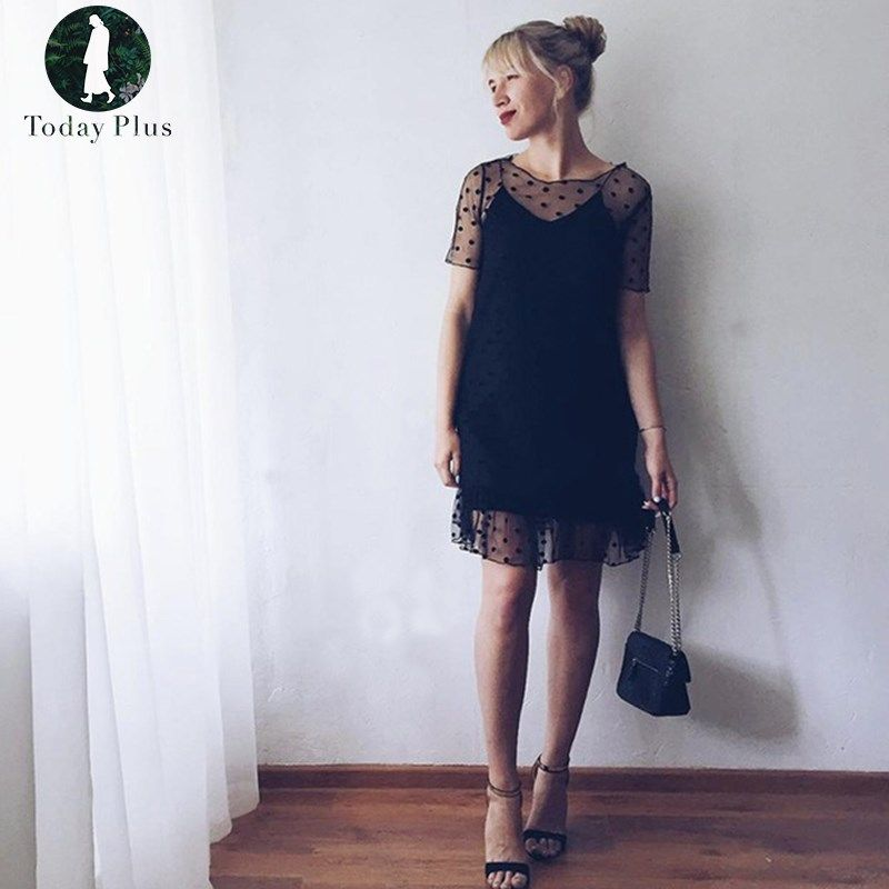 2017 New Fashion Womens Sexy Sheer Polka Dot Mesh Short Sleeve Summer Female Casual Black Party Beach Knee-length Dresses