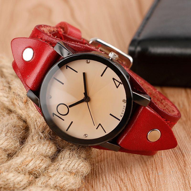 Kevin Cool Steampunk cristal reloj mujeres correa de cuero 4 estilos cuarzo-reloj mujer vestido reloj deportivo casual