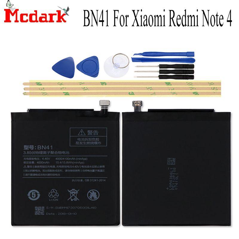BN41 BN43 BN41H BN45 BN31 batterie pour Xiaomi Redmi Note 4 Note 4X MTK Global/Redmi Note 4 5 5A 5A Pro batterie de réparation avec outils