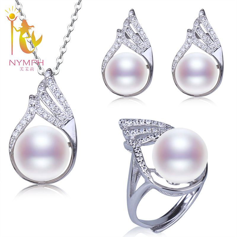 [NYMPH]Fresh Water Pearl Jewelry Set Natural 10-11mm Pearl Pendant Earrings Rings Wedding Party Gift With Box[T220]