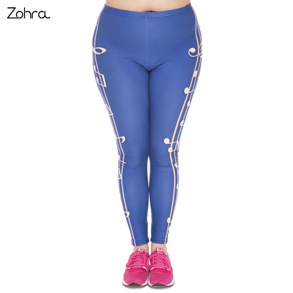 Zohra New Large Size Leggings Color Music Printed High Waist Leggins Plus Size Fashion Trousers Stretch Pants For Plump Women