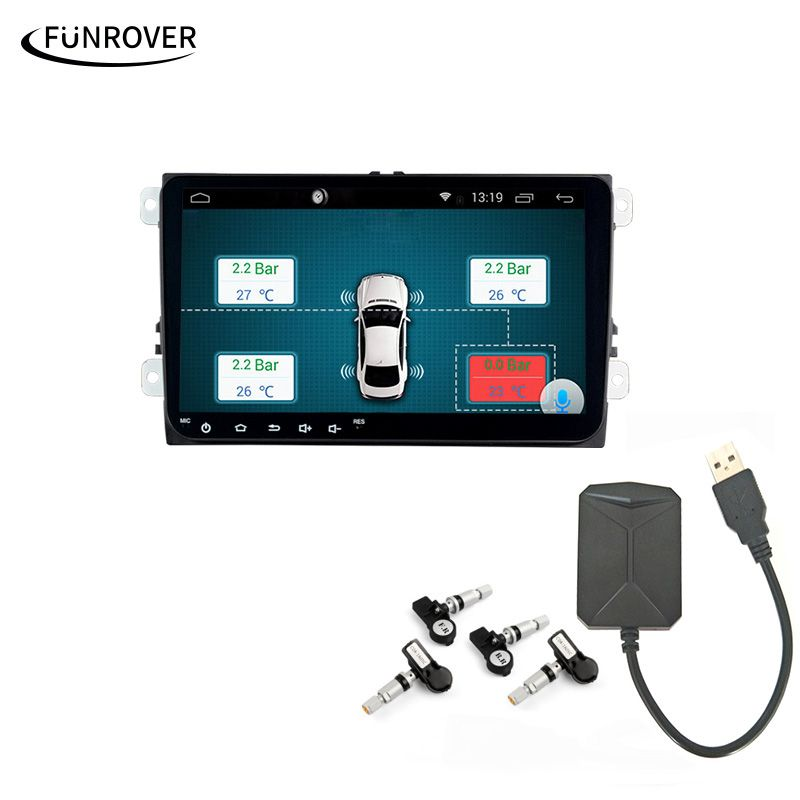 Car TPMS Android Funrover For DVD Player Monitor Wireless Tire Pressure Monitoring System with 4 Internal Tyre Sensors