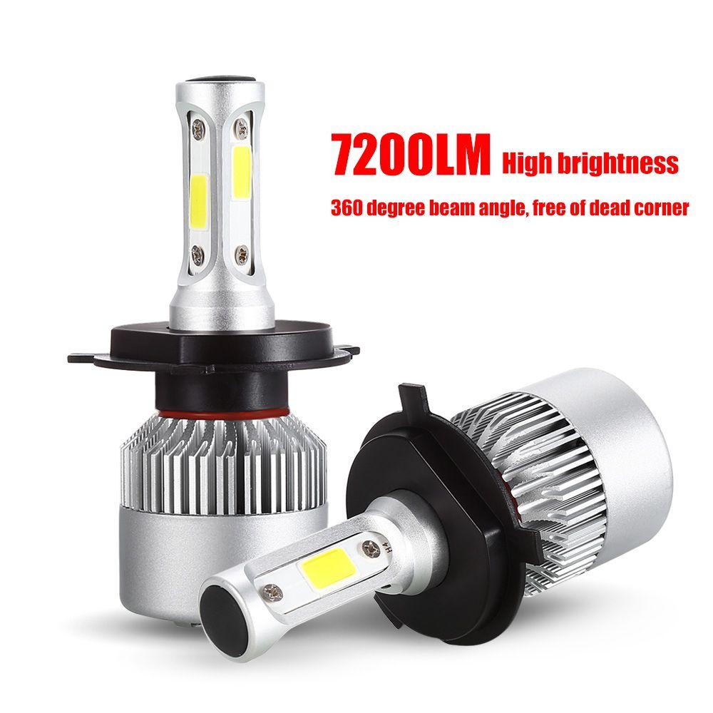 S2 Car Light H7 LED Headlight Bulb H4 H1 H11 6000K 72W 7600LM HB3 HB4 H3 H13 H27 9004 9007 COB Front Fog Lamp for Auto 12V 24V