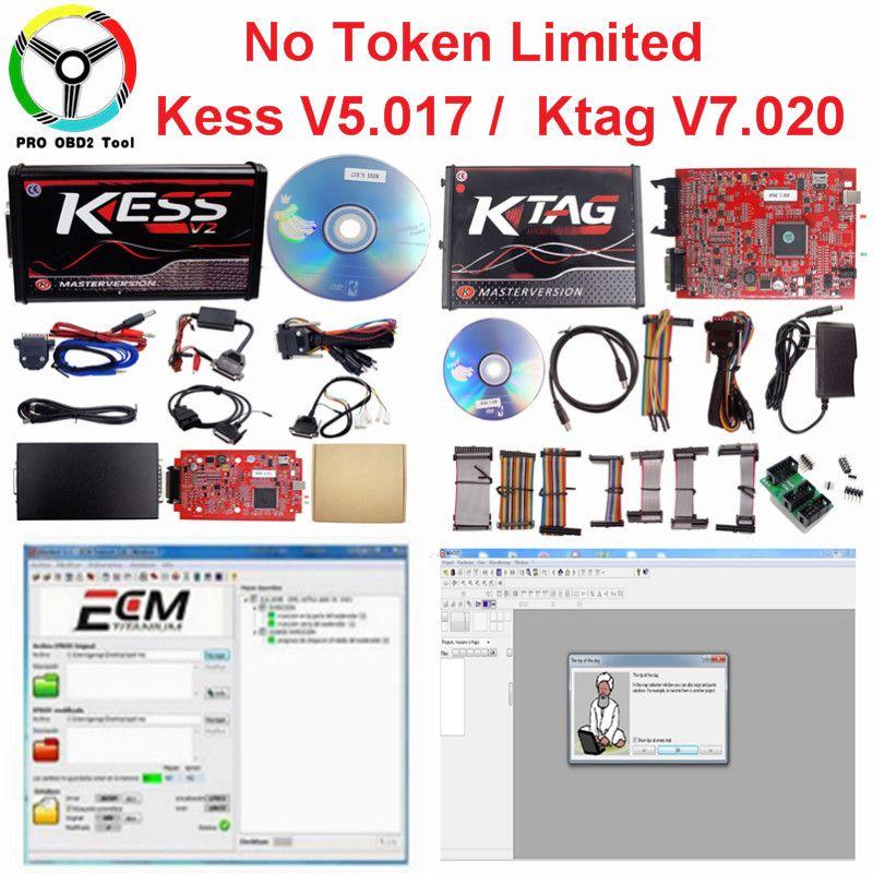 Online V2.47 Master EU Red Kess V5.017 Kess V2 V2.23 No Token Ktag V7.020 4 LED OBD2 Manager Tuning Kit K-TAG 7.020 ECU Tools
