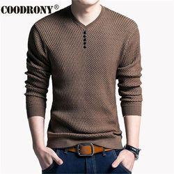 Coodrony Sweater Pria Kasual Pullover Leher V Pria Musim Gugur Slim Fit Kemeja Pria Sweater Rajutan Kasmir Wol Menarik Homme