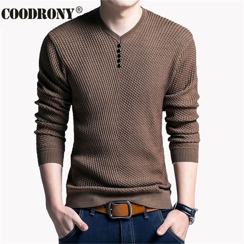 Solide Couleur Pull Hommes V Cou Chandail Hommes À Manches Longues chemise Mens Chandails Laine Casual Robe Marque Cachemire Tricots Pull Homme