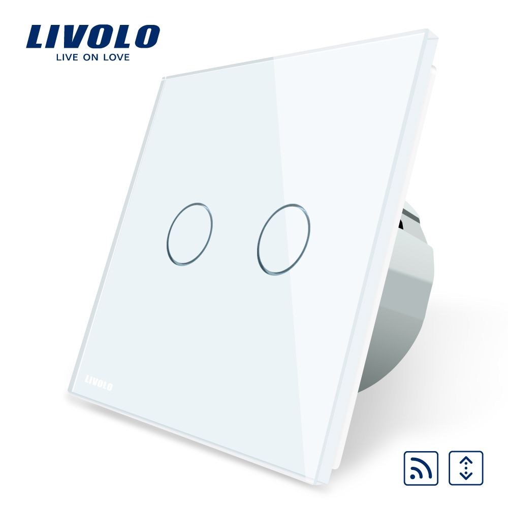 Livolo ЕС Стандартный светодиодный сенсорный пульт дистанционного шторы выключатель, AC 220 ~ 250 В, белый кристалл Стекло Панель, c702WR-1/2/3/5, без пуль...