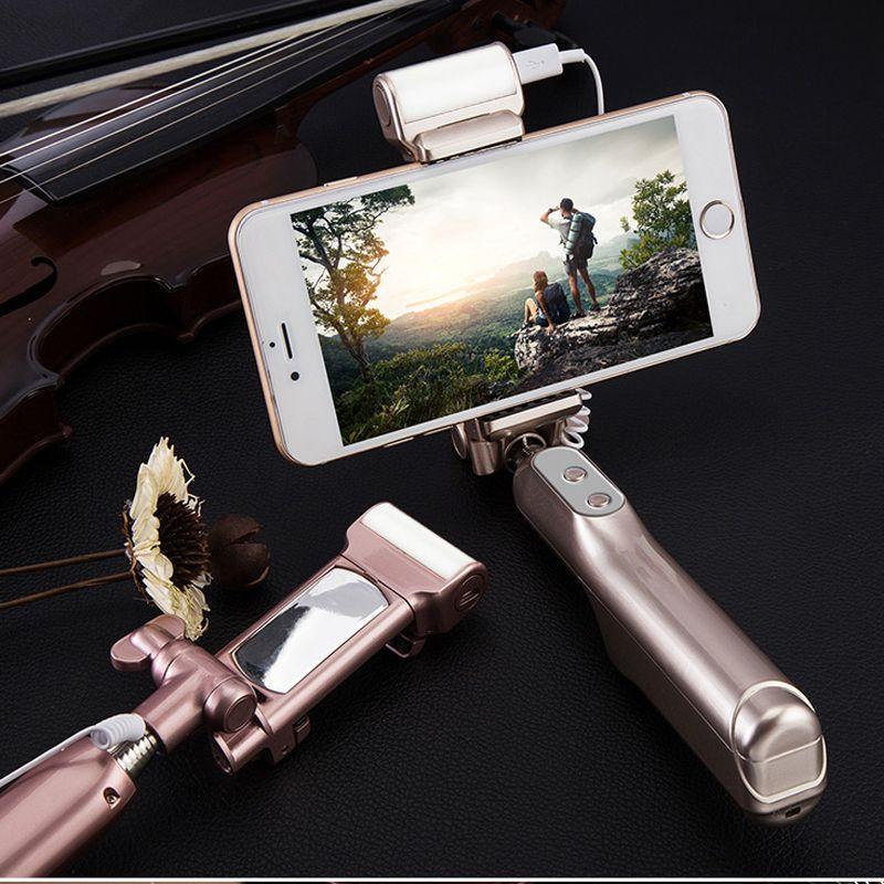 Монопод Селфи Палка 360 Градусов Светодиодный Заполняющий Свет с Зеркалом Заднего Вида Выдвижной Сзлфи Стик для iphone для Android Смартфон