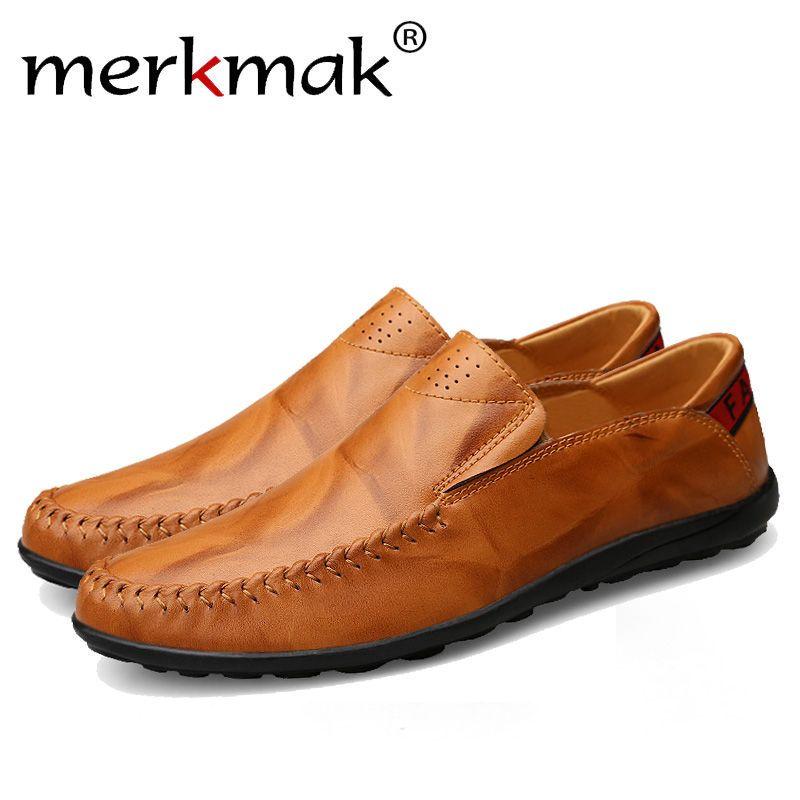 Merkmak Fashion Genuine Leather Men's Shoes Casual Big Size 36-47 Holes Loafer Design Driving Men Flat Footwear Handmade Shoes