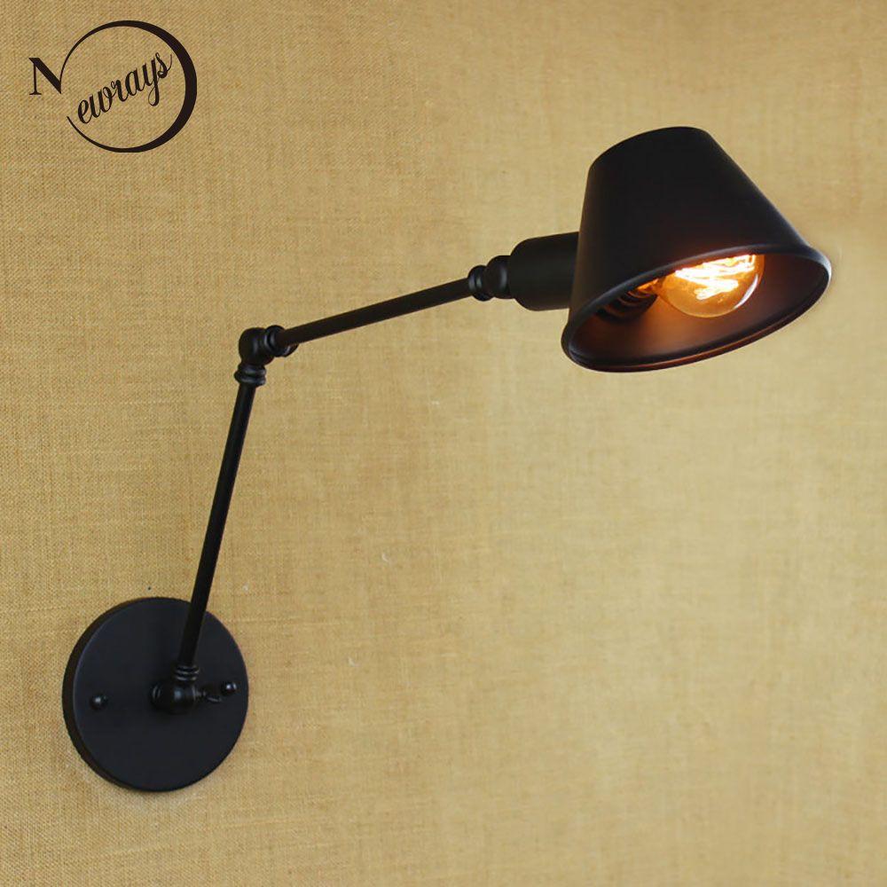 Loft rétro mat noir fer ombre réglable bras oscillant lecture lampes murales e27/e26 applique pour salle de travail chambre bar café