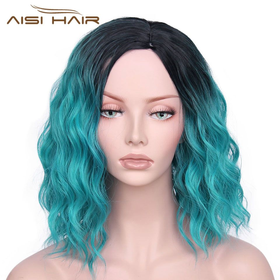 I's a wig Synthetic Ombre Red Blue Pink Wigs Short Black Hair for Women's 14Long Water <font><b>Wave</b></font> False Hair