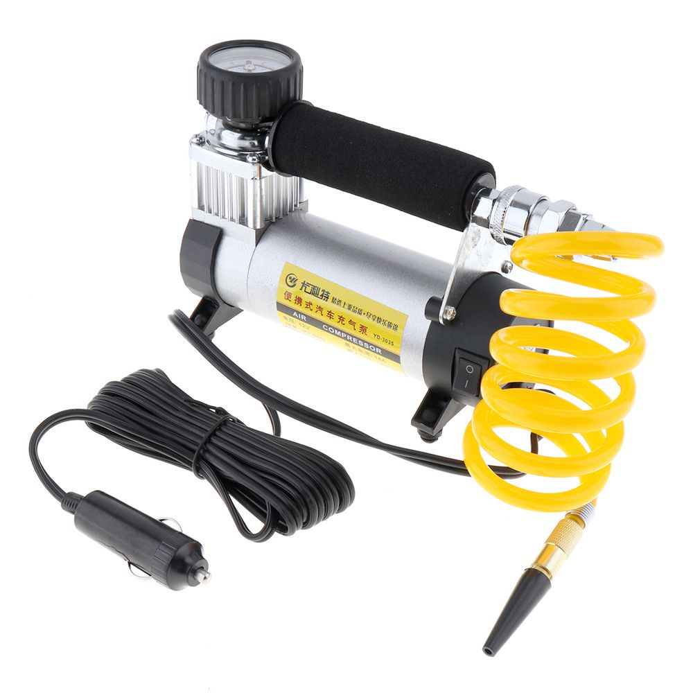 DC 12V Auto Car Tire Inflator 100PSI Car Air Pump 35 L/MIN Car Pumps 100W Air Compressor for Car Bicycles <font><b>Motorcycles</b></font>