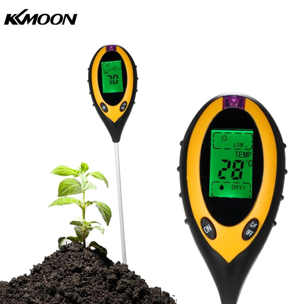 4 In 1 Digital Soil Meter PH Moisture Soil Meters Detector MultiTool <font><b>Sunlight</b></font>/Moisture/PH value/Temperature Instrument For Plant