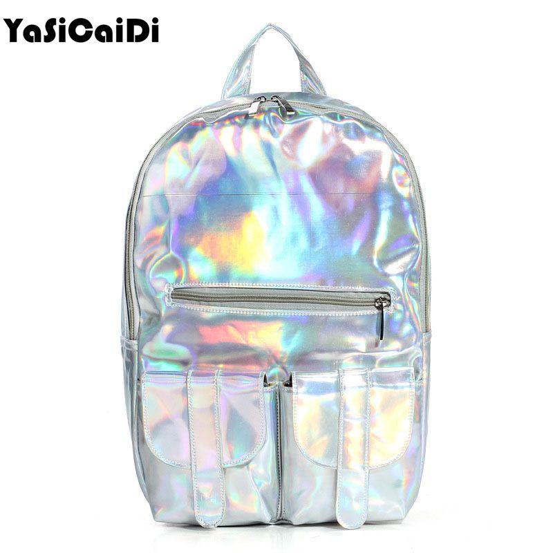 2017 Mochila masculina рюкзак Женские Серебро Голограмма лазерная женщины рюкзак мужская кожаная сумка голографическая рюкзак многоцветный
