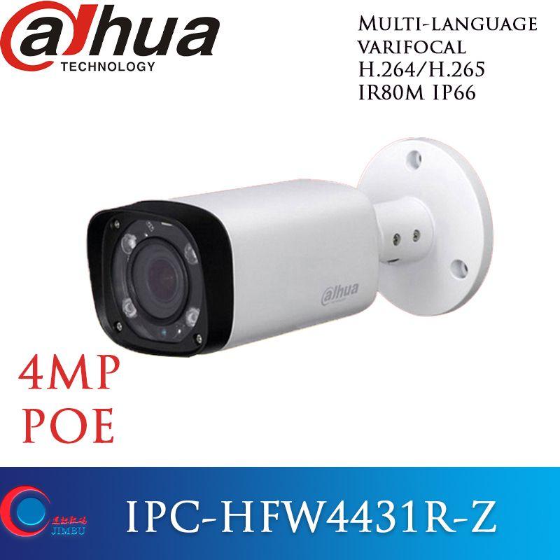 Dahua caméra ip poe 4mp multi-langue H.265 IPC-HFW4431R-Z lentille motorisée varifocale 2.8mm ~ 12mm IR 80 M onvif caméra de vidéosurveillance