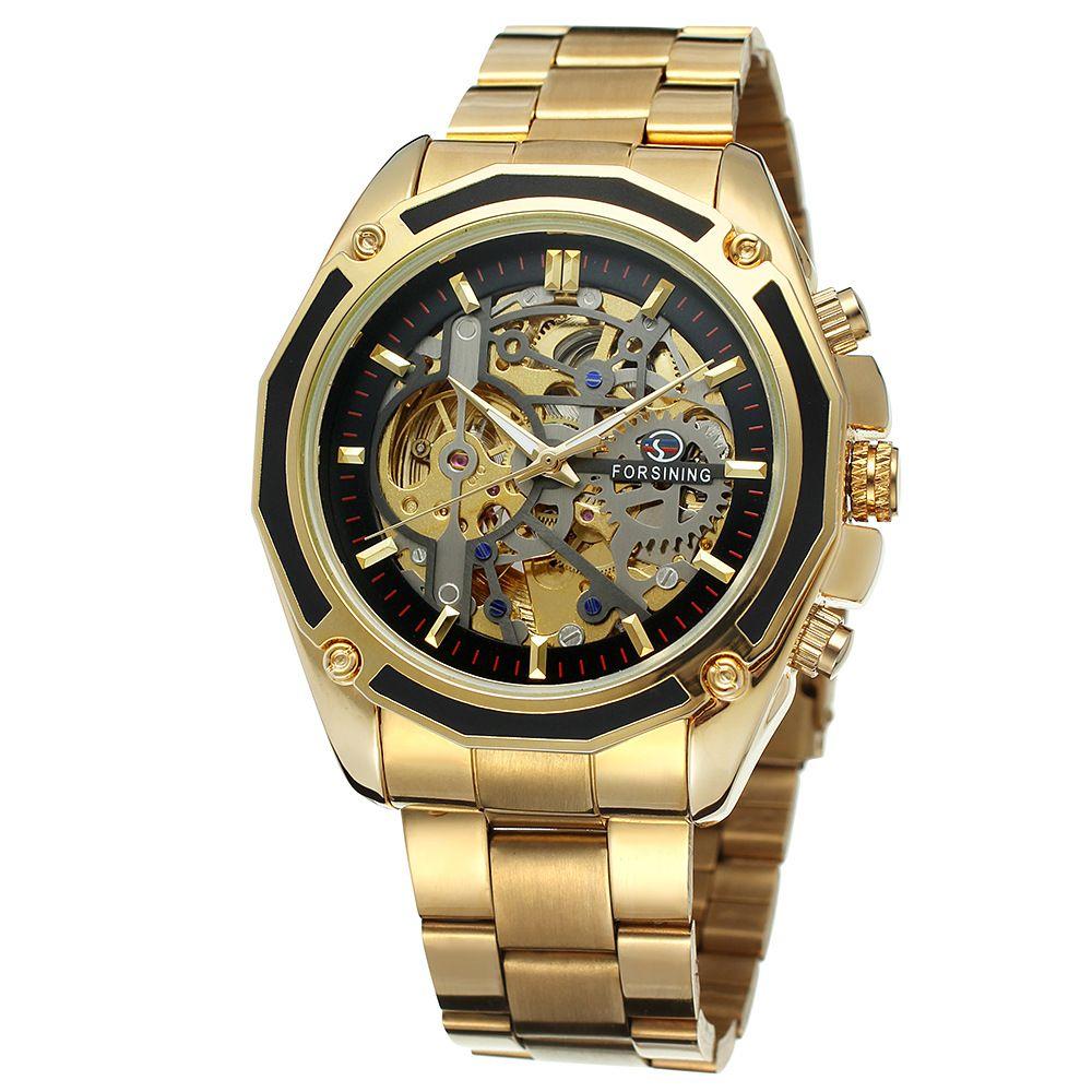 2018 Forsining Steampunk Gold Watches Men Automatic Mechanical Skeleton Watch Men Steel Wristwatch Male Clock Relogio Masculino