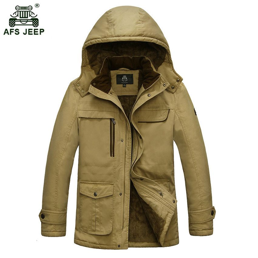 AFS JEEP 2017 Large Size Cotton Thicken Winter Jacket Men Winter Casual Warm Coat Men's Cotton Clothing 183wy