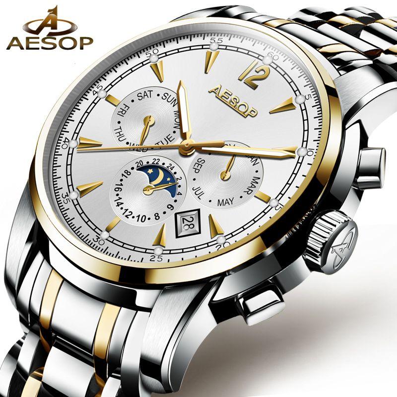 AESOP Mann Automatische Mechanische Uhr Männer Luxus Gold Blau Männer der Armbanduhr Wasserdichte Männliche Uhr Männer Luminous Relogio Masculino