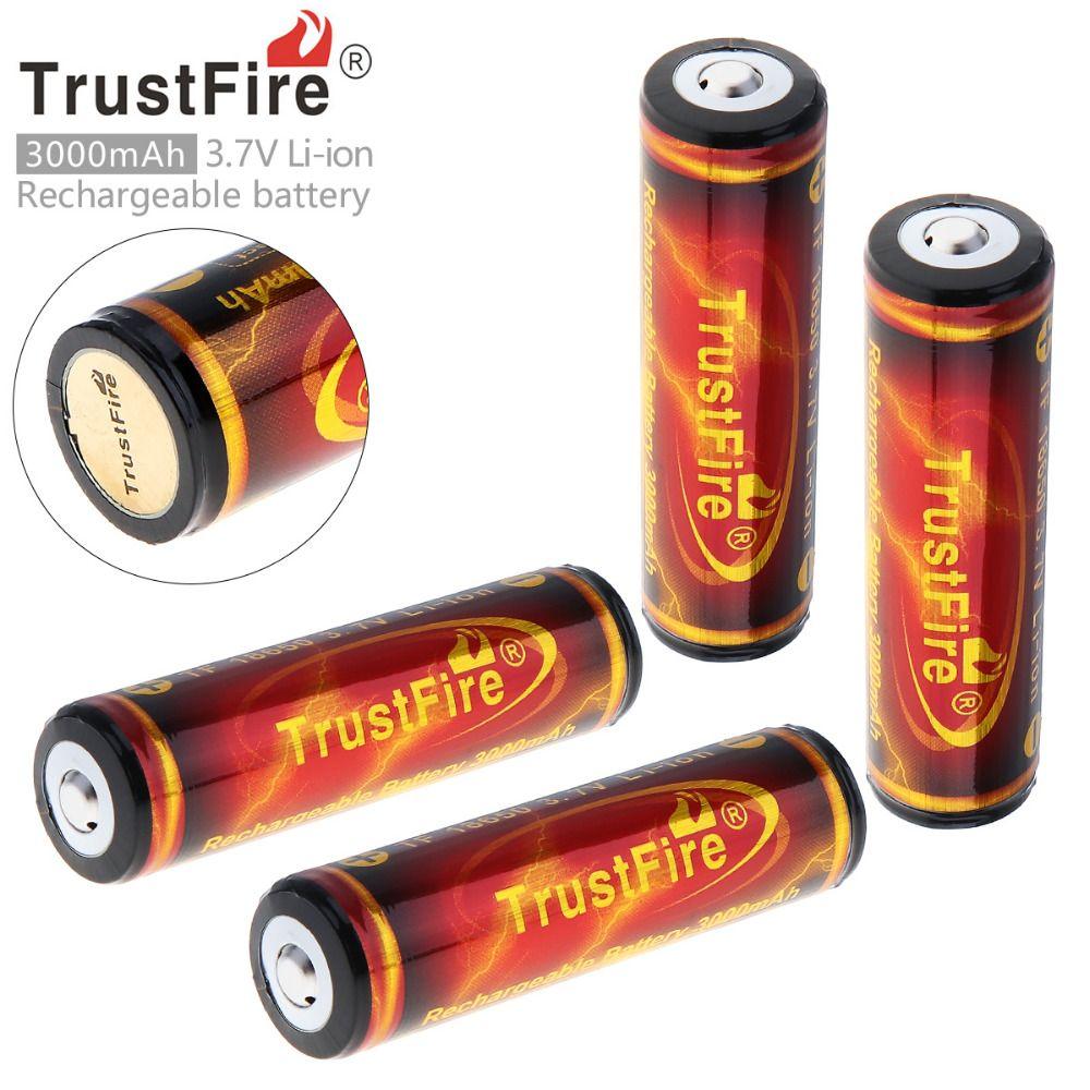 4 PCS/Lot TrustFire Véritable Pleine Capacité 3000 mAh 18650 3.7 V Li-ion Rechargeable Batterie avec PCB Protégée