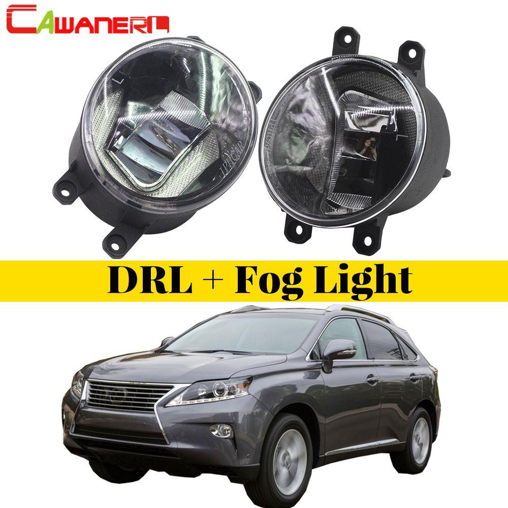 Cawanerl 2 X Car LED Lamp Front Fog Light Daytime Running Lamp DRL White 12V Styling For Lexus RX350 RX450h 2010 2011 2012 2013