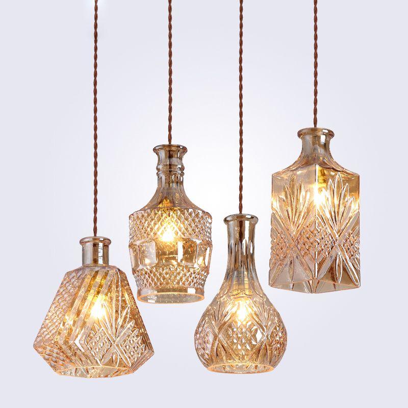 Moderne minimaliste Vintage bouteille de vin pendentif lumières CafeRoom/Bar lampe simple verre pendentif lampes décoration éclairage intérieur E27