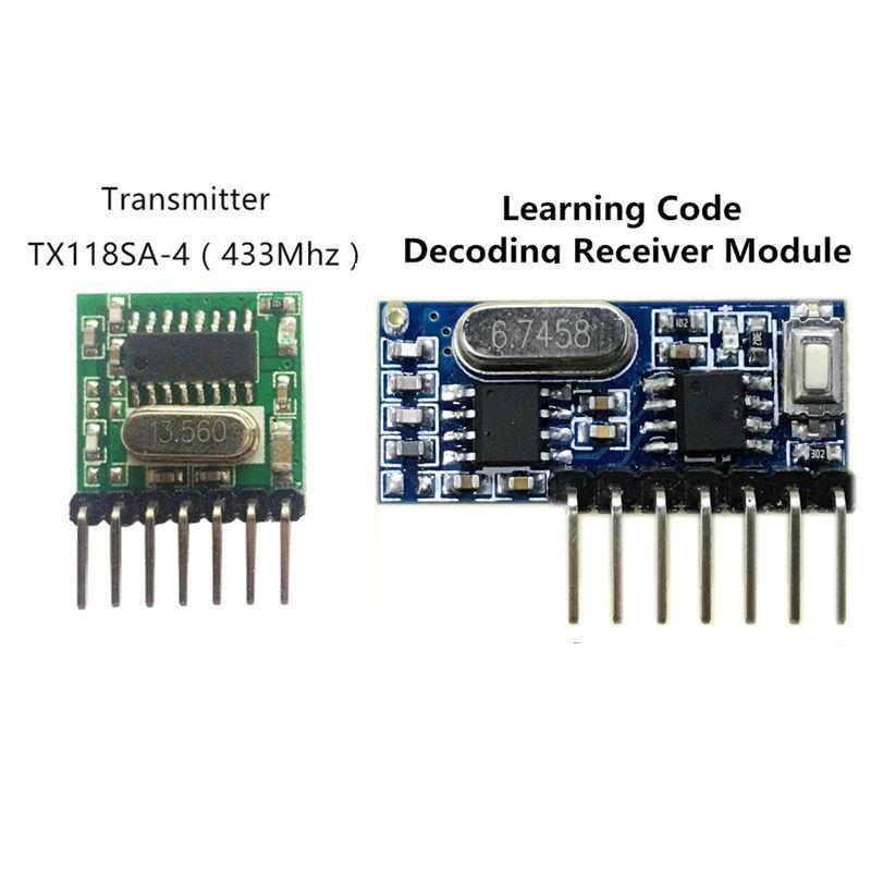 433 Mhz Sans Fil Récepteur et Transmetteur Apprentissage du Code Télécommande 1527 Module de Décodage 4 Ch sortie Avec Bouton D'apprentissage