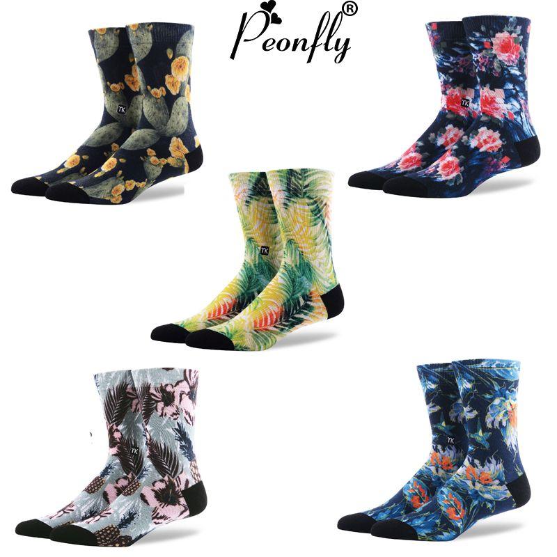 Calcetines de impresión en color de alta calidad Nuevos hombres de la moda de graffiti arte brotación feliz calcetines creativos