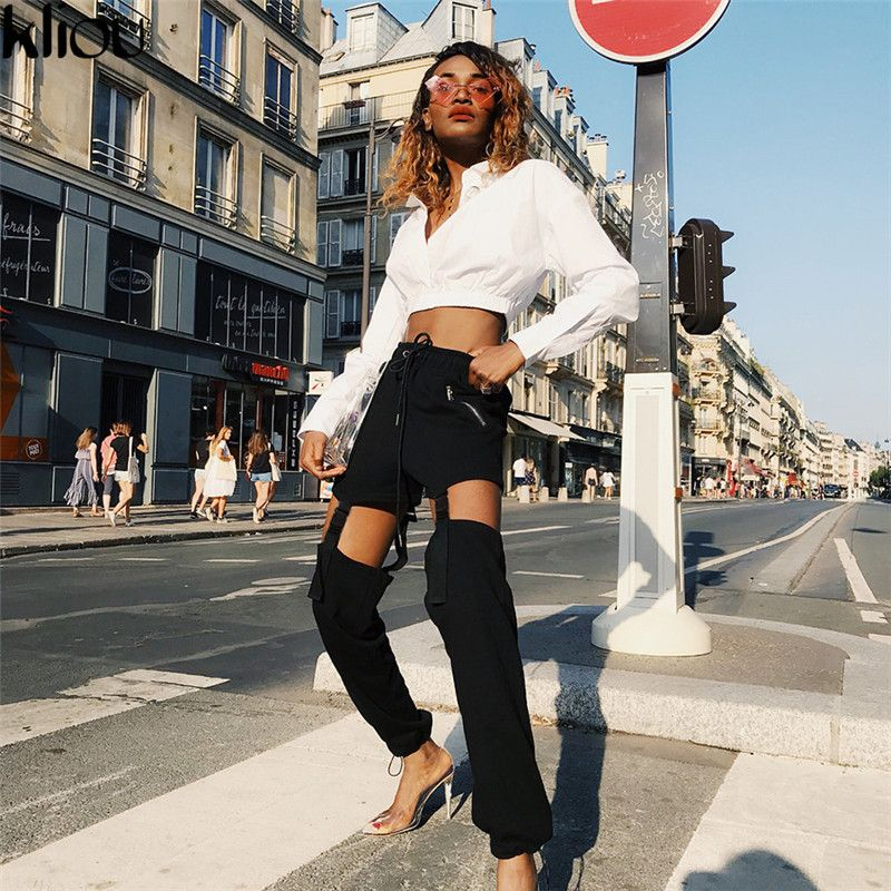 Kliou New Fashion Bandage Design Women Casual Loose Full Length Pants 2018 Autumn High Waist Solid Fake Zippers Cargo Pants